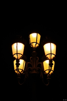 Street Lamp at night, Madrid, Spain